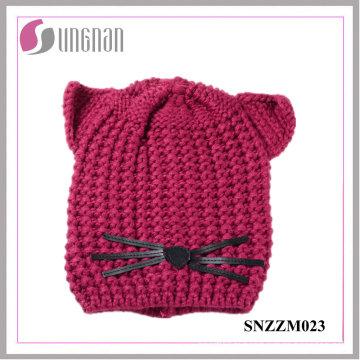 Casque tricoté en laine tricoté de haute qualité créative oreille chat chapeau (SNZZM023)