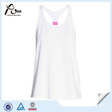 White Polyester Sexy Women Tank Top for Fitness