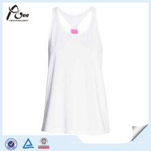 Camisola de alças sexy das mulheres do poliéster branco para a aptidão