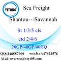 Shantou Port Sea Freight Versand nach Savannah