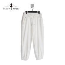 Breathable Elastic High Waist Rivet Loose Streetwear White Womens Sweatpants Fashionable