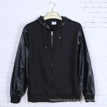 Leather Sleeves Patch Hoodie Black Cotton Long Sleeve