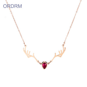 Gaya Baru Ruby Crystal Rose Gold Antler Necklace