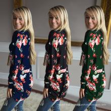 Premium poliéster longo moda feminina manga longa impressão flores blusa tamanho grande