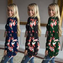Премиум полиэстер длинный мода женщины с длинным рукавом печать цветы большой размер блузка