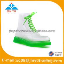 Moda pvc botas de lluvia transparente