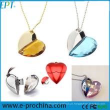 Jóia do presente do valentim coração forma usb flash drive de cristal usb (es002)