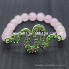 Venta al por mayor de piedras preciosas naturales de cuarzo rosa con diamante verde pulsera de serpiente