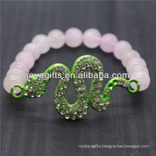 Wholesale Natural Gemstone Rose Quartz With Green Diamante Snake Bracelet