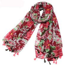Chegada nova mulheres borla cachecol flores vermelhas impresso lenço xale cachecol de tecido de viscose atacado