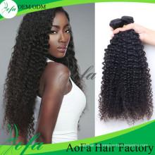 Pelo humano brasileño de la Virgen del grado 7A / extensión rizada rizada del cabello humano
