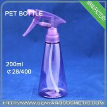 Garrafa de plástico PET 200ml, garrafa de água com bomba de spray