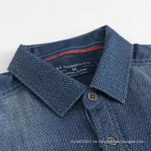 Camisas de hombre de invierno de tela gruesa de manga corta índigo