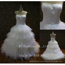 2017 Lastest Strapless sweetheart ruffle lace up back 3d flor bordado vestido de noiva de renda bordada