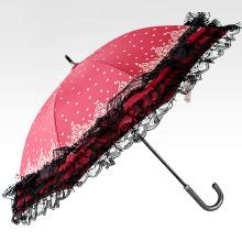 Paraguas recto abierto manual de las señoras del borde del cordón (BD-20)