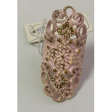 Pink Lace Hollow Ring with Metal