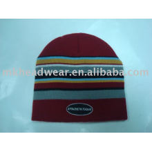 colorful striped 100% acrylic machine knitted hat