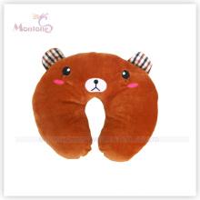 Coussin d'oreiller de cou de dessin animé d'ours de Brown