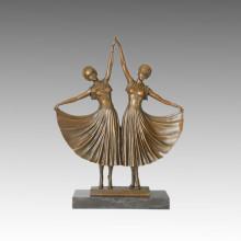 Danseuse Bronze Sculpture Double Dancers Craft Deco Statue en laiton TPE-044