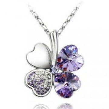 2014 драгоценный камень повезло четыре листа клевера ожерелье кулон ювелирные изделия