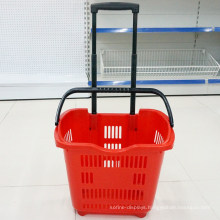 Wheels and Handle Shopping Rolling Plastic Basket