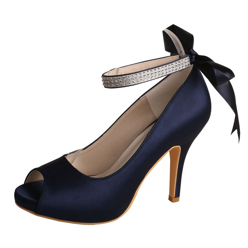 Navy Blue Satin Shoes