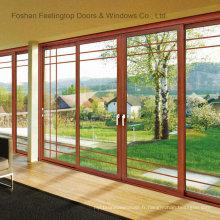 Porte coulissante en aluminium à double vitrage commercial (FT-D80)