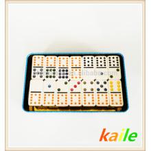 Doble 9 dominó blanco barato con caja de hojalata
