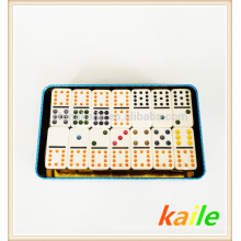 Duplo 9 dominó barato branco com caixa de lata