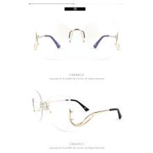 Randlose Übergröße Brille Mode Übergroße Damen Sonnenbrille in rosa Tönung schöne randlose Übergröße Brille