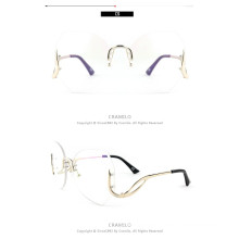 Rimless Oversize glasses Fashion oversized Women Sunglasses in pink tint beautiful rimless oversize glasses