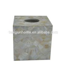 Cor de água doce cor natural quadrado tecido real caixa de pérola shell caixa de tecido real