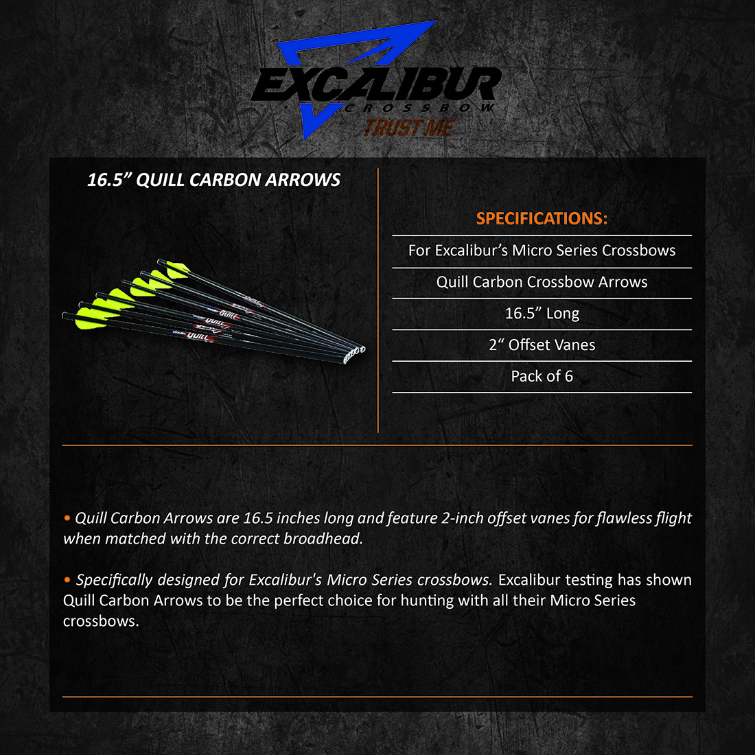 Excalibur_Quill_Carbon_Arrows_6pk16.5in_Product_Description