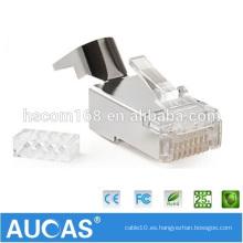 Aucas Oferta de fábrica Cat 7 Conector RJ45 Modular Plug 8P8C FTP Cat7 RJ45 Conector para cable de red trenzado
