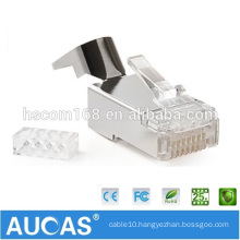 Aucas Factory Offer Cat 7 Connector RJ45 Modular Plug 8P8C FTP Cat7 RJ45 Plug for Stranded Network Cable