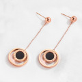 Tối giản Rose Gold đôi vòng tròn Dangle Earrings