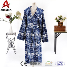 New arrival popular comfortable unisex robe floral printed coral fleece hooded bathrobe