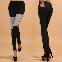 Graue Baumwoll-Zipper-Leggings, gemischte Farbgamaschen