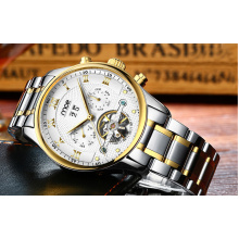 gold case all stainless steel machine dial watch
