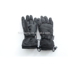 Black nylon taslon ski gloves with thinsulate lining