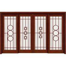 Porta de madeira deslizante de estilo tradicional de arte chinesa com vidro de arte