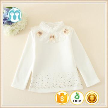 chinesische Großhandel Blusen für kleine Mädchen Bodenbildung Shirt mit applizierten schönen Bären für Kinder