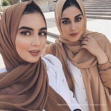Llanura 78 colores dubai musulmán mujeres gasa burbuja bufanda chal hijab gasa bufanda
