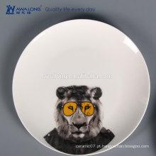 New bone china Imagens de desenho Lion Dinner cerâmica pratos
