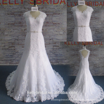 Sexy Wedding Gown Mermaid Hot Selling Wedding Dress Lace Applique Bridal Gown with Beaded Belt