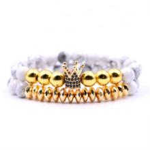 8 MM Howlite Beads Gold Crown Alloy Charm Bracelet for Women