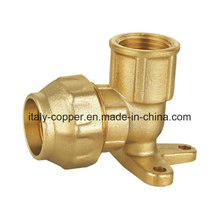 Brass Forged Compression End Wall Pallet Elbow with Two Legs for PE Pipe (IC-7012)