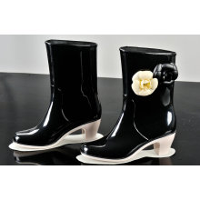 ПВХ дождя сапоги для женщин, высокий каблук мода дождь обуви