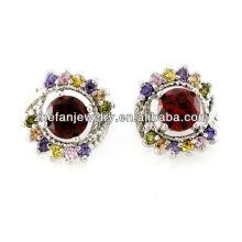 Pendientes de botón de piedra de rubí Pendientes de moda de joyería turca