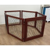 Wood and metal 6 panel folding dog gate